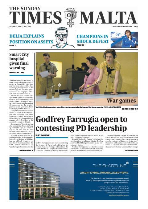 Times of Malta - Sunday, August 13, 2017