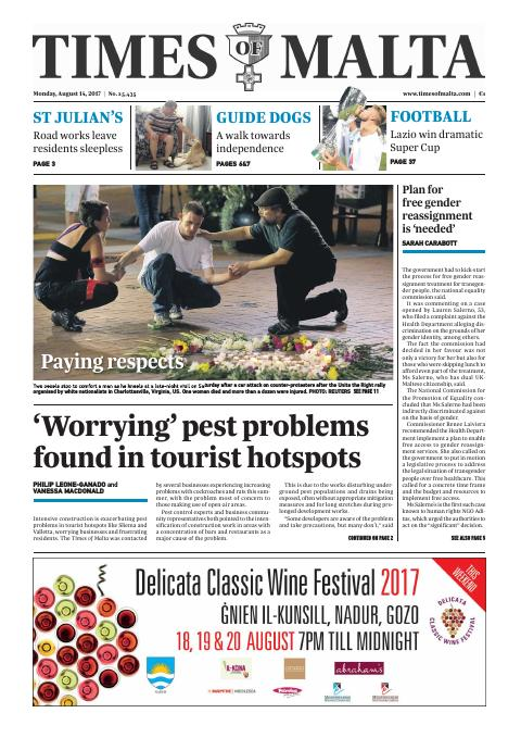 Times of Malta - Monday, August 14, 2017