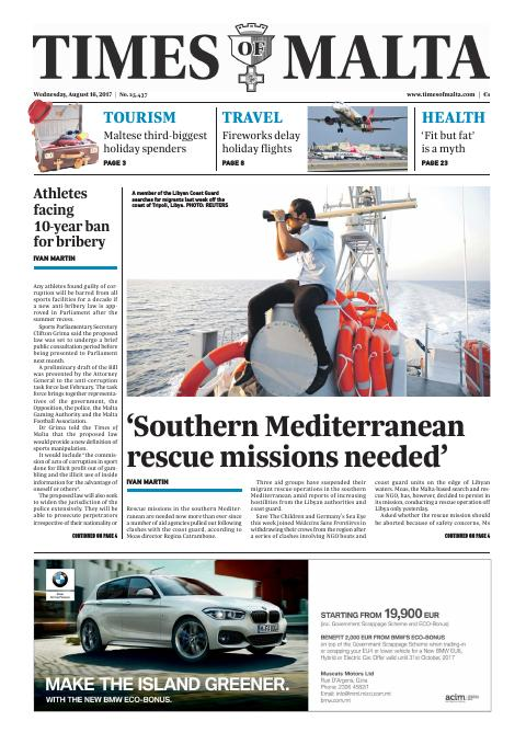 Times of Malta - Wednesday, August 16, 2017