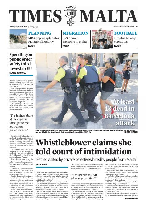 Times of Malta - Friday, August 18, 2017